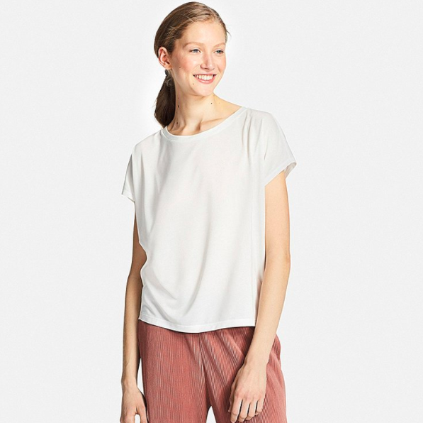 Uniqlo Women Drape Crewneck Short-Sleeve T-Shirt