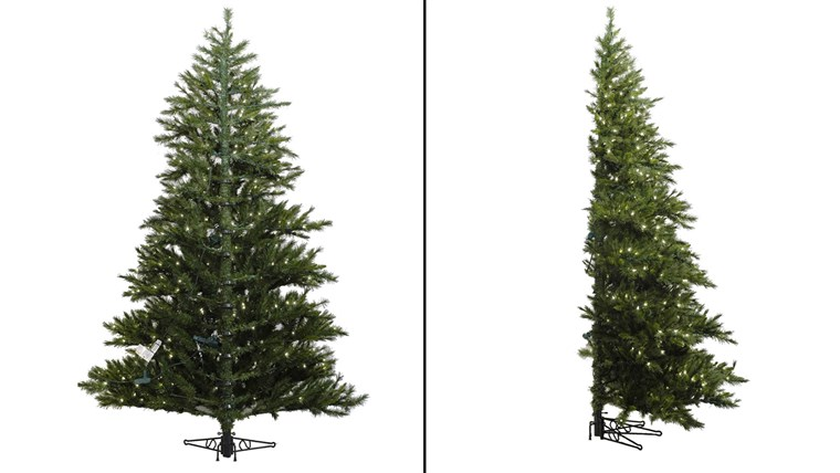 Pół Christmas trees are trendy and can help save space