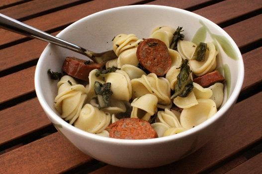 Lekker! Try orecchiette with chicory and Andouille chicken sausage.