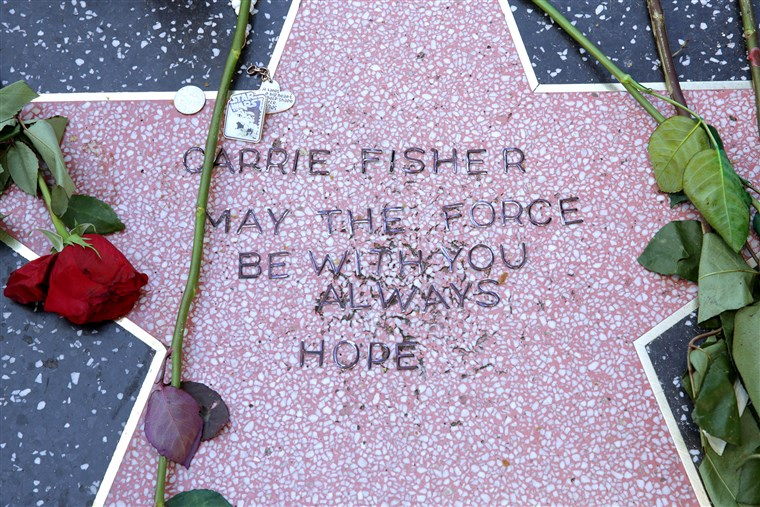 Carrie Fisher Remembered With Makeshift Star On The Hollywood Walk Of Fame