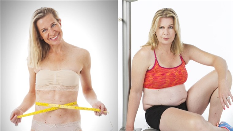 Katie Hopkins before and after she intentionally gained 50 pounds