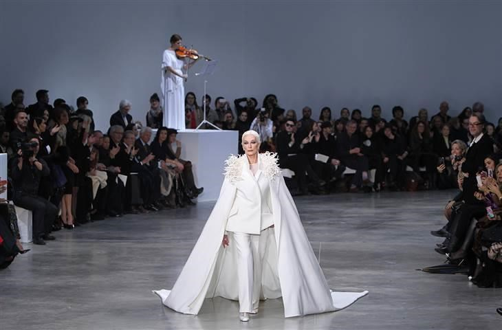 Carmen Dell'Orefice walks the runway for designer Stephane Rolland during the Haute Couture Spring-Summer 2013 collection shows in Paris.
