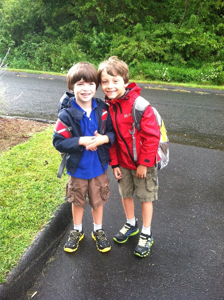 Primeiro day of school for the Hockley brothers in 2012