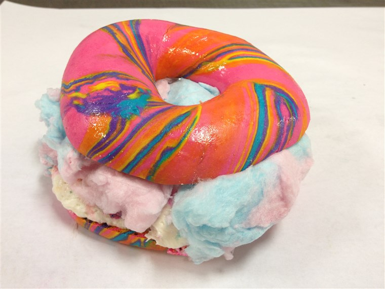 Tęcza Bagel Stuffed with Funfetti Cream Cheese and Cotton Candy from Brooklyn's The Bagel Store